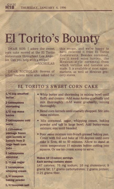el torito's sweet corn cake. Oh how I miss El Torito's Champagne brunch!!! :(