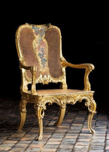 Arm Chairs (seven), 1760s, Italian (Rome) Gilded and painted wood, 108 cm high Isabela Stuart Gardner Museum