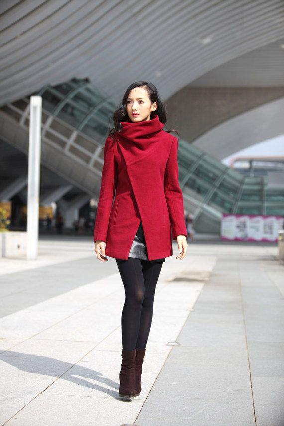Hey, I found this really awesome Etsy listing at http://www.etsy.com/listing/160858951/wine-red-high-collar-jacket-winter-wool