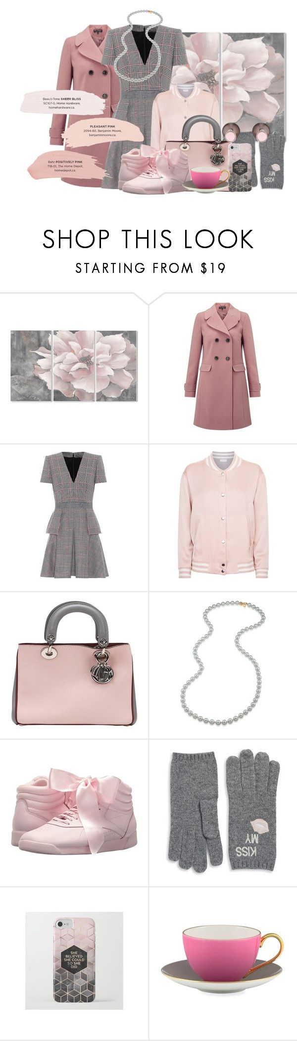 """pink and grey"" by theimprovchica ❤ liked on Polyvore featuring Stupell, Miss Selfridge, Alexander McQueen, Escada Sport, Christian Dior, Carolee, Reebok, Portolano, Kate Spade and Kenneth Jay Lane"