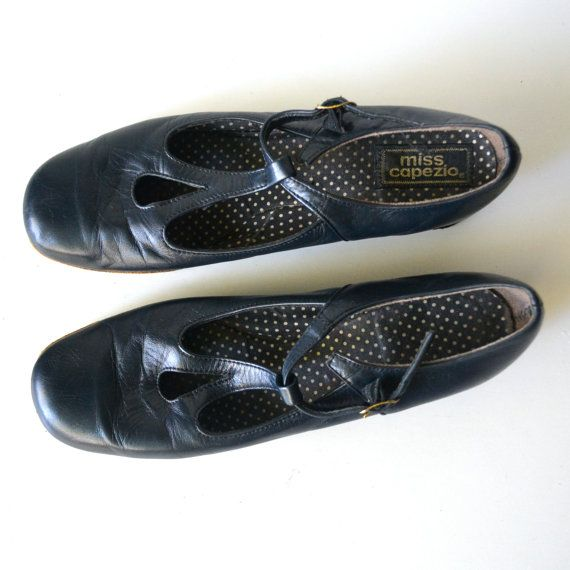 1970s Navy Blue T Strap Buckle Wedges with Tear Drop by miskabelle size 6 $20