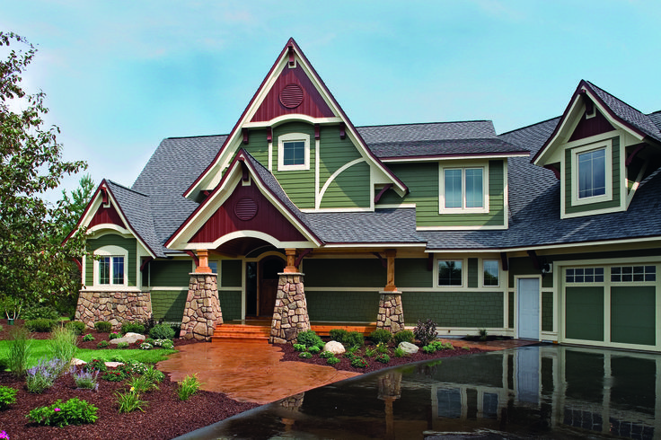 James Hardie S Mountain Sage Traditional Home Looks Fiber Cement Siding Vertical Siding