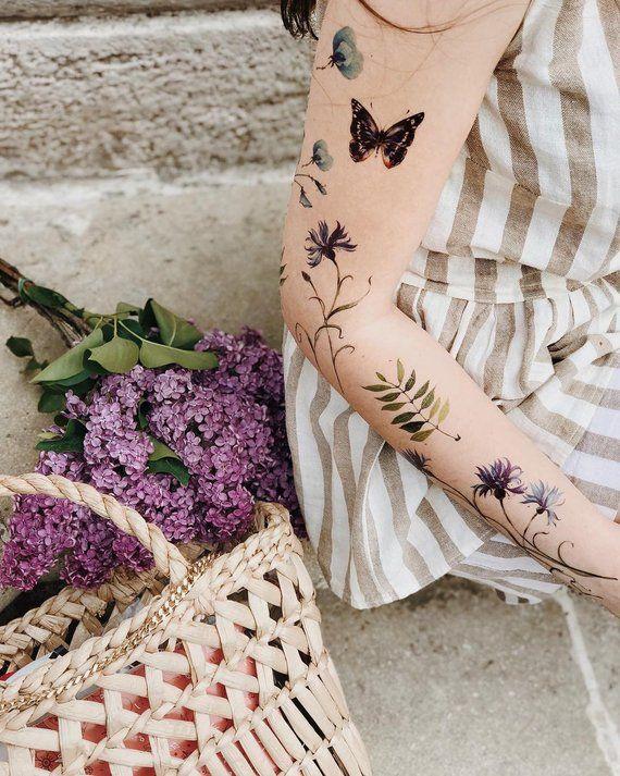 Boho Tattoo, Temporary Tattoos, Custom Temporary Tattoo, Floral Tattoo, Butterfly Tattoo, Tattoo Sleeve, Body Art Tattoo, Shoulder Tattoos   – THINGS