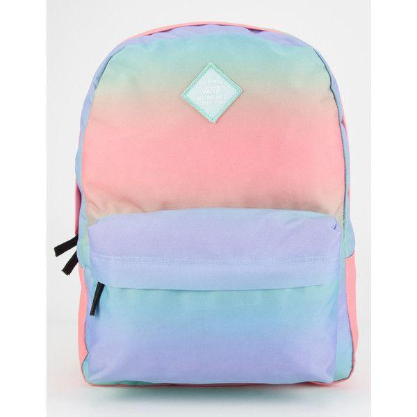 Vans Realm Backpack ($35) ❤ liked on Polyvore featuring bags, backpacks, multi, knapsack bags, polyester backpack, vans bag, zip bags and shoulder strap backpack