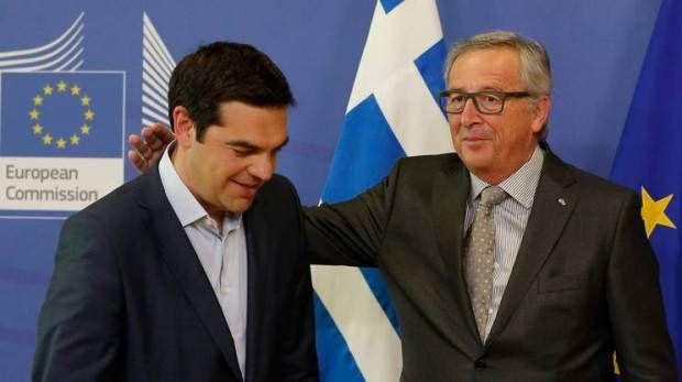 Alexis Tsipras e Jean-Calude Juncker a Bruxelles