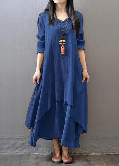 Navy Blue Long Sleeve Straight Maxi Dress on sale only US$27.79 now, buy cheap Navy Blue Long Sleeve Straight Maxi Dress at lulugal.com