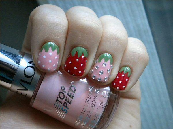 Rhinestone StrawberryNails Art, Nailart, Nails Design, Accent Nails, Nails Addict, Nails Nails Nails, Strawberries Nails, Amazing Nails, Rhinestones Strawberries