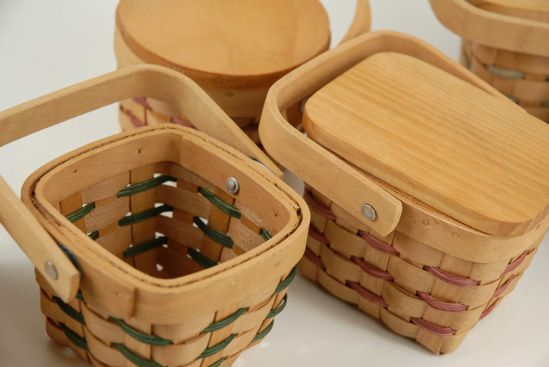 "Miniature 3"" Wood Picnic Baskets with Lids $2.99 each / 36 for $2.29 each.  Wizard of oz birthday party favors!!!!!"