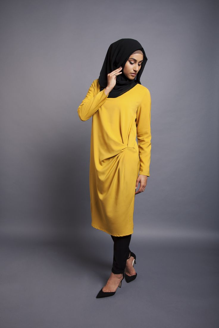Yellow Knot Midi Dress + Black Jersey Hijab | INAYAH www.inayahcollection