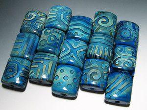 BLUFF Handmade Lampwork Beads: The Deepest Blue (55)