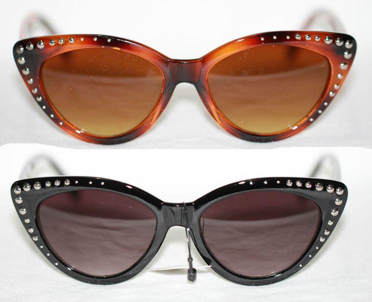 Nieten Cat Eye Sonnenbrille zum Petticoat Kleid Pinup Studs Sunglasses 373 RAR