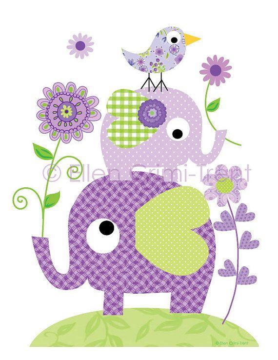 Niños pared arte - púrpura elefantes y flores