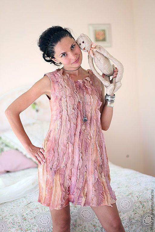 """Купить авторское платье """"лепестками роз"""" - бледно-розовый, легкое платье, дизайнерское платье"""