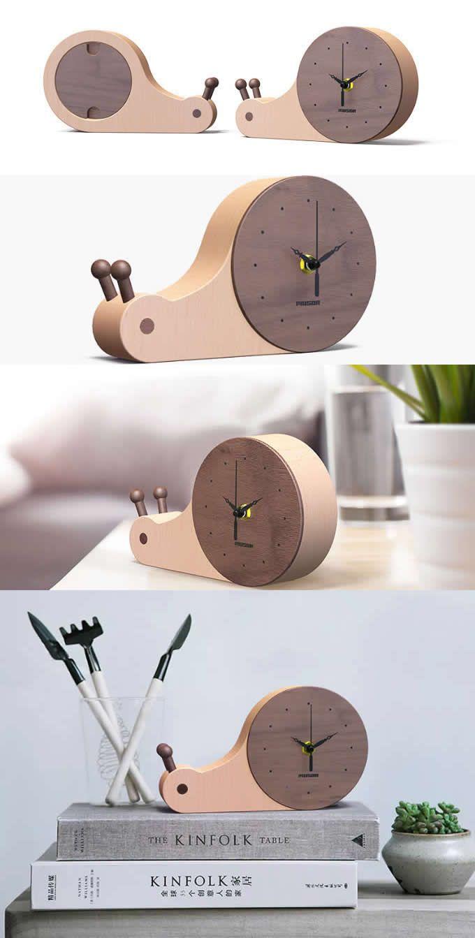 Bamboo Wooden Snail Round Desk Clock Art Deco Style Handmade