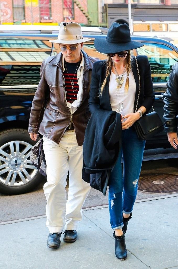 4/21/14 - Amber Heard + Johnny Depp arriving to The Bowery Hotel in NYC.