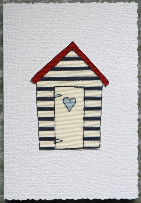 Blue Heart Beach Hut  Fibre Art Greetings Card by AngiesTextileArt, £1.50