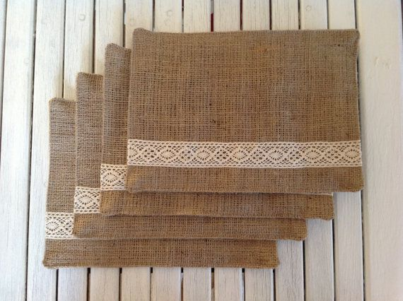 Homemade Hessian Placemats With Lace Detail Sewing