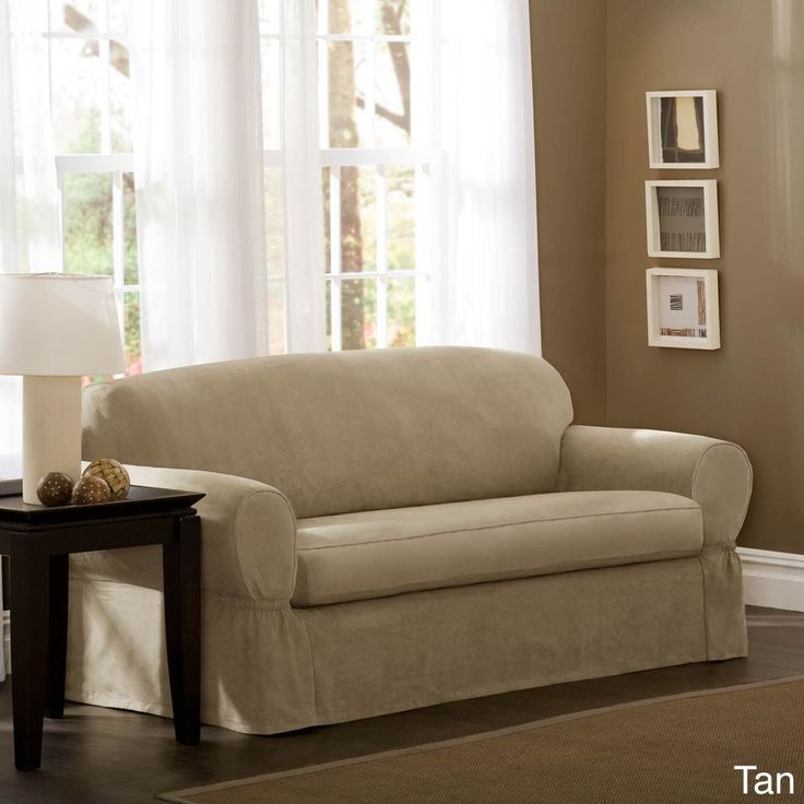 Maytex Piped Suede 2 Piece Sofa Slipcover Brown Solid