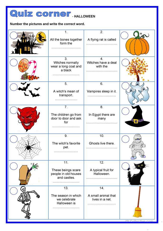 Quiz corner Halloween Halloween worksheets, Childrens