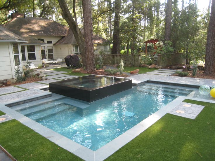 Raised Spa With Negative Edge Spill Over Custom Swimming