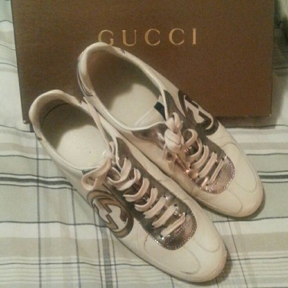 Gucci sneakers Stylish gucci sneaker. Good condition minor scuffing as shown in pic. Final sale. No returns!  Dropped from $150. Gucci Shoes Sneakers