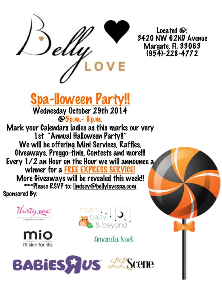 Grab the girls for an early Halloween celebration over spa treatments, candy bars & preggo-tinis at Belly Love Spa, Ultrasound Center & Maternity Boutique Wednesday, October 29 from 5-8pm! For more information, or to RSVP email lindsey@bellylovespa.com!