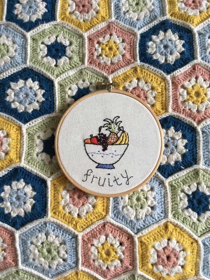Embroidered Fruit Bowl Hoop - 'Fruity' by OffthebeatentrackCo on Etsy