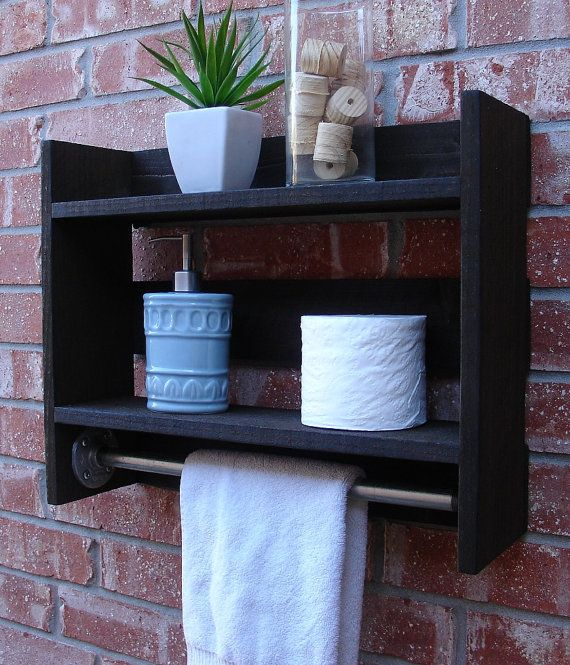 Simply Rustic Small 2 Tier Bathroom Wall Shelf with 18  Towel Bar. 12 best Industrial Pipe and Wood Bathroom Designs In The Phoenix