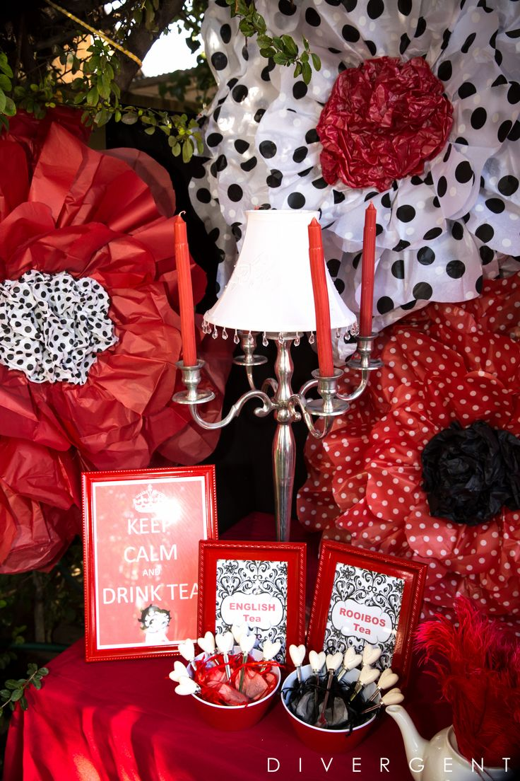 Red, Black and White themed garden birthday party  buffet table tea station with giant paper flowers