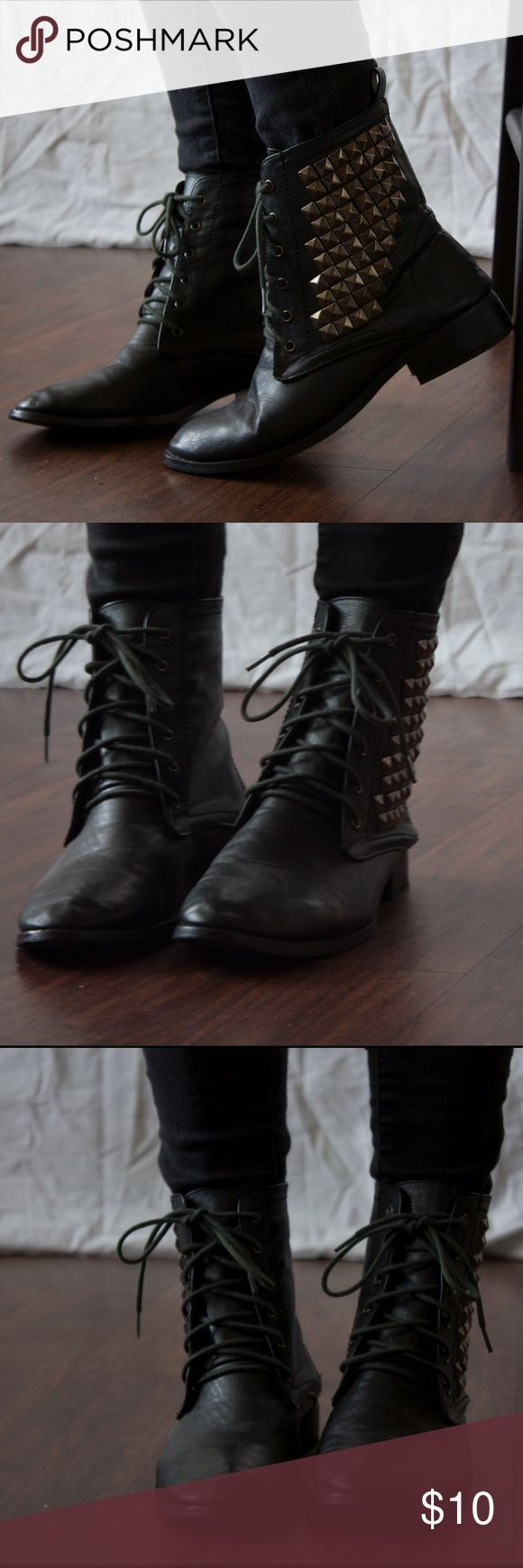 Combat Boots- Studded Studded boots with stud detailing on the side. Laces to tie. Forever 21 Shoes Combat & Moto Boots