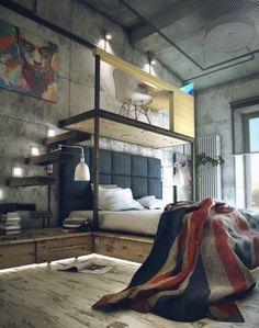Cooles Schlafzimmer im Industrial Chic. Betonwände und rustikale Möbel stehen dabei im Vordergrund