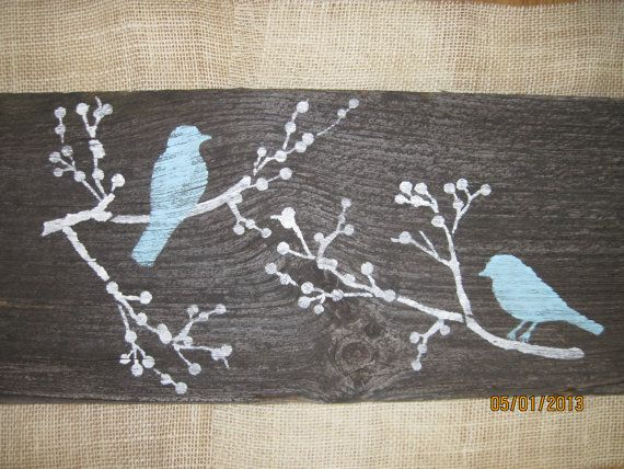 Aqua Rustic Wall Decor Reclaimed Simple Wood Blue Birds Black on Old Barn Wood