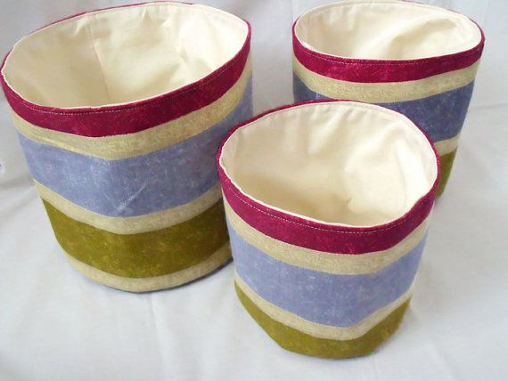 3 storage bins storage buckets striped by FingerPrickingGood