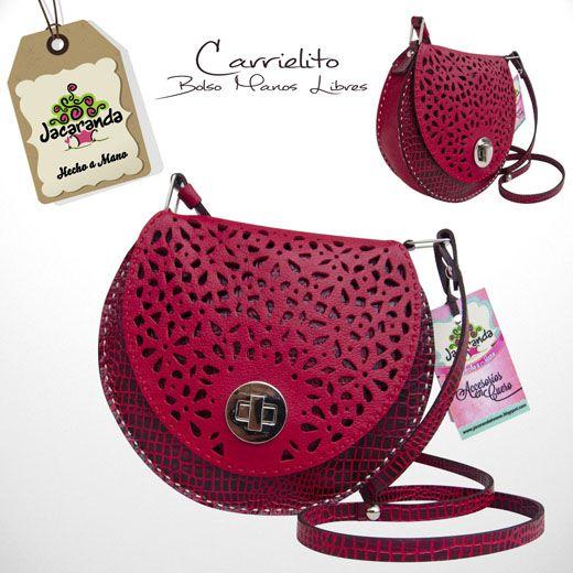 CARRIELITO: bolso manos libres Jacaranda, en cuero, hecho a mano. #bags