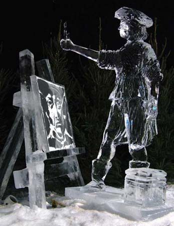Painting Rembrandt ice sculpture  This ice sculpture was part of an ice festival in Holland 2005, the figure is painting a portrait of Rem...