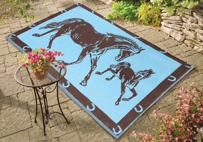Western Horse Reversible Outdoor Patio Mat Easy To Clean
