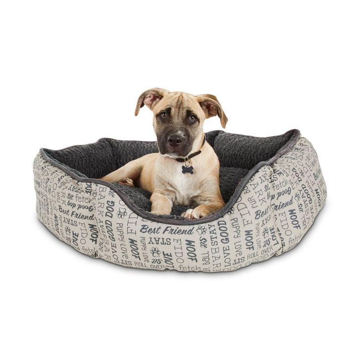 Harmony woof printed dog bed medium gray dog bed dog