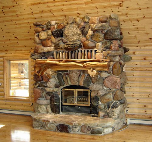 Cabin Decor Hand Carved Fireplace Mantels Juniper Log Decorative Columns Barnwood Mantel
