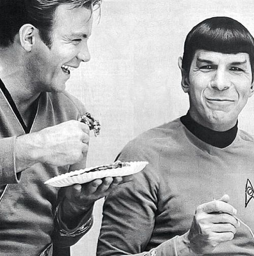 William Shatner and Leonard Nimoy eating pie on the set of Star Trek, 1968
