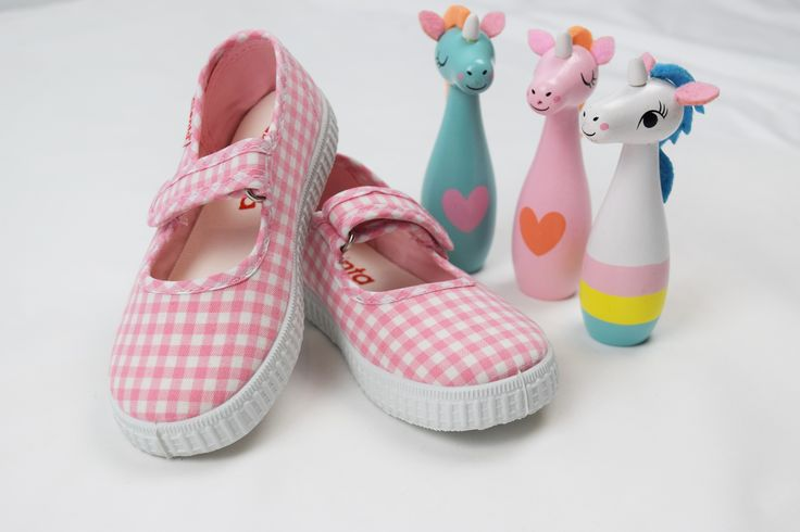 Girls cotton pink gingham shoes