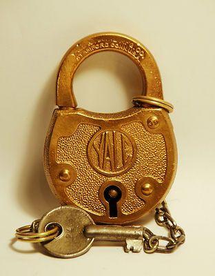 Vintage YALE Brass Padlock Lock with Antique Old Skeleton Key