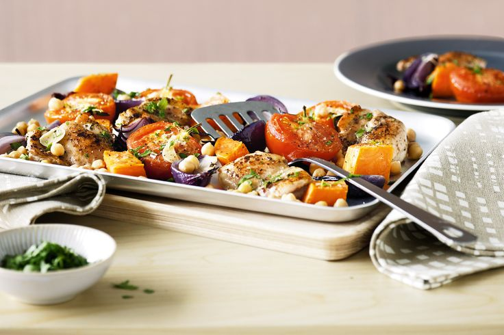 chicken, sweet potato, chickpeas. one tray - easy!