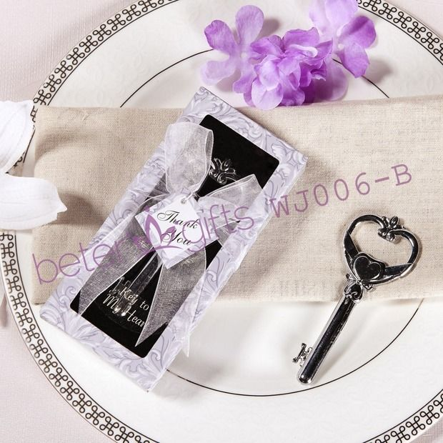 """#bottleopener #weddingfavour #bottlestopper   """"Key to My Heart"""" Bottle Opener Wedding Favors in Lavender Box"""