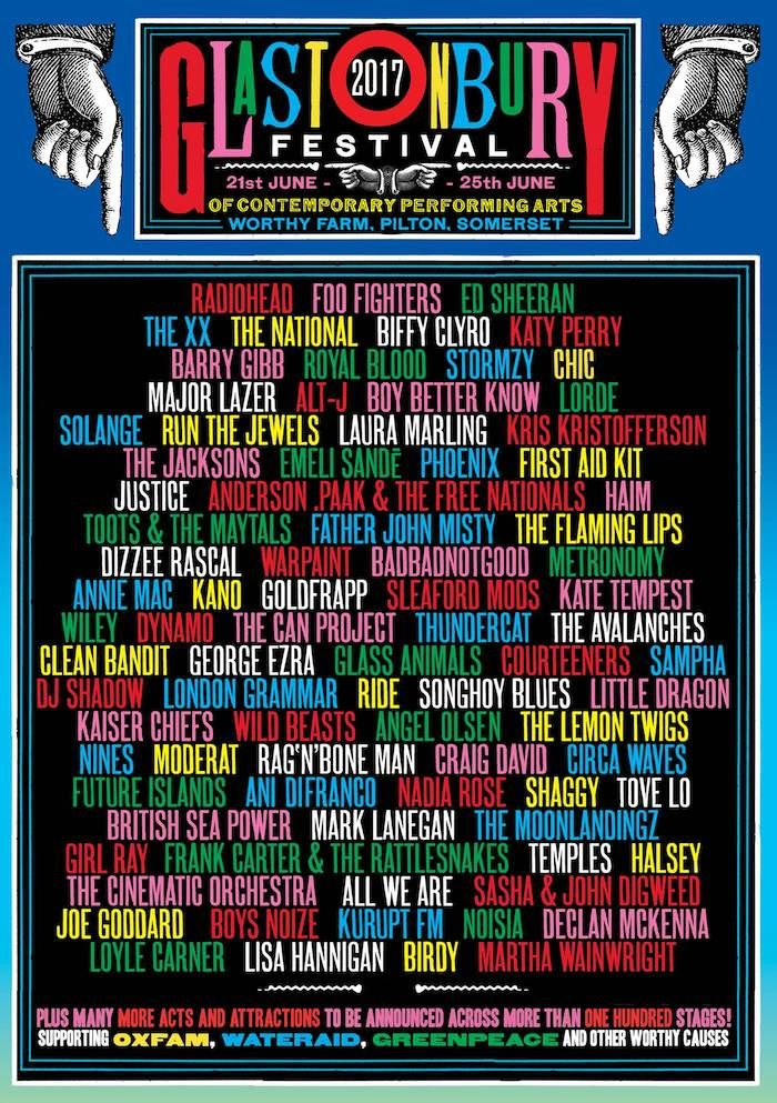 Glastonbury Festival poster unveiled with some 85 acts. The full list of acts confirmed for Glastonbury 2017 are as follows