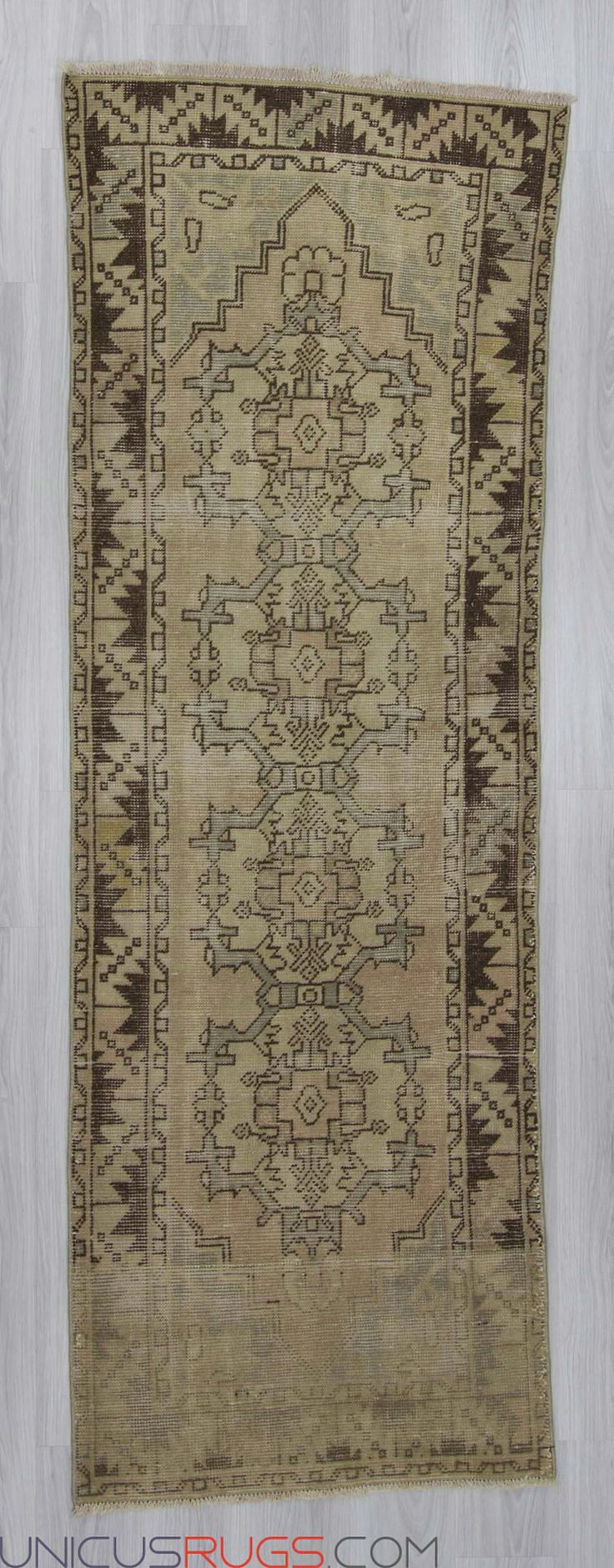 """Vintage decorative runner rug from Nigde region of Turkey. In very good condition. Approximately 40-50 years old. Width: 2' 11"""" - Length: 8' 7"""" RUNNERS"""