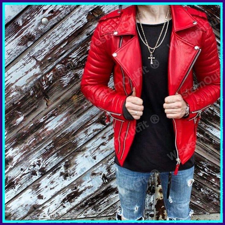 New Men's Genuine Lambskin Leather Jacket Red Slim fit Biker Motorcycle jacket #WesternOutfit #Motorcycle