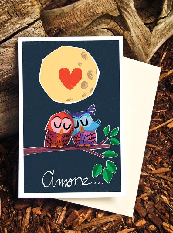 Owl Valentine Card Amore Valentine Card Romantic by PicklePunch