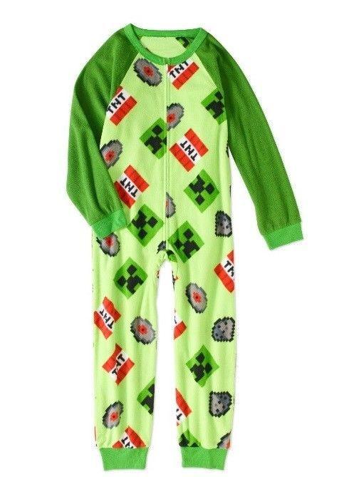 ddfd57da1 MINECRAFT Fleece Pajamas Boy s size 10 12 NeW Zip-Up Zipper Warm ...