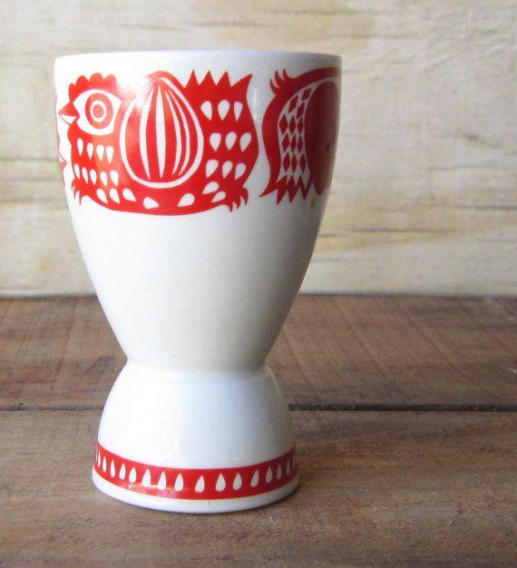 Vintage Mid Century Modern Arabia of Finland Egg Cup Chicken Rooster - Gunvor…
