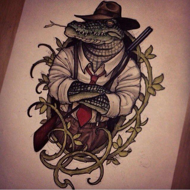Crocodile sketch tattoo